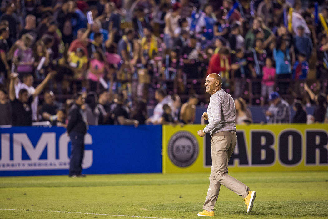 "Lights technical director Jose Luis Sanchez Sola ""Chelis"" celebrates after the Lights won 2-1 against Swope Park at Cashman Field in Las Vegas on Saturday, March 31, 2018.  Patrick Conno ..."