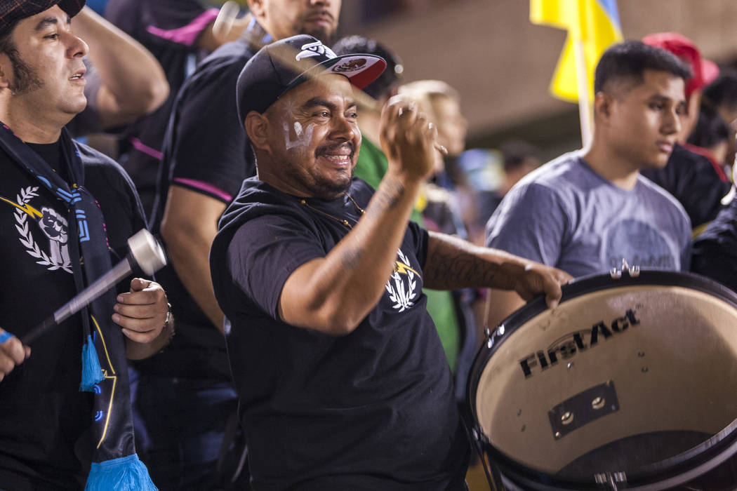 The Electric Company fan club cheers before the start of a a Las Vegas Lights vs. Swope Park Rangers United Soccer League game at Cashman Field in Las Vegas on Saturday, March 31, 2018. The Lights ...
