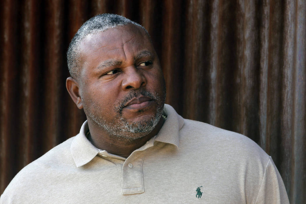 In this Tuesday, Feb. 28, 2012, file photo, former baseball player Albert Belle looks on as he visits the Cleveland Indians' spring training camp in Goodyear, Ariz. (AP Photo/Jae C. Hong,File)