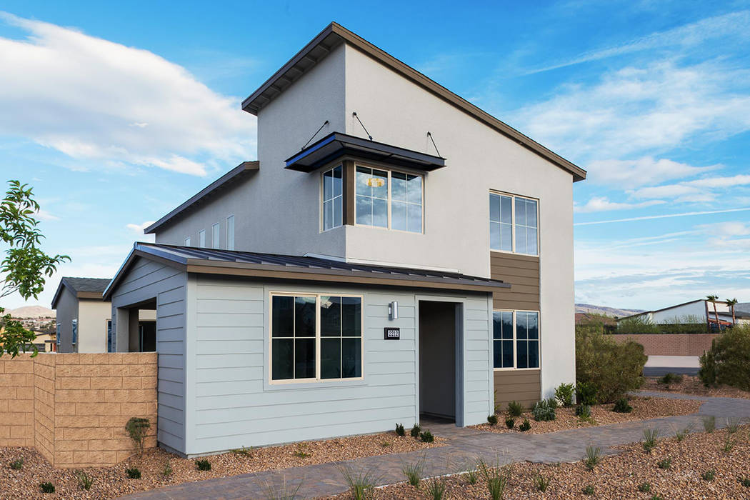 Pardee Homes Strata by Pardee Homes in Inspirada offers a midcentury design.