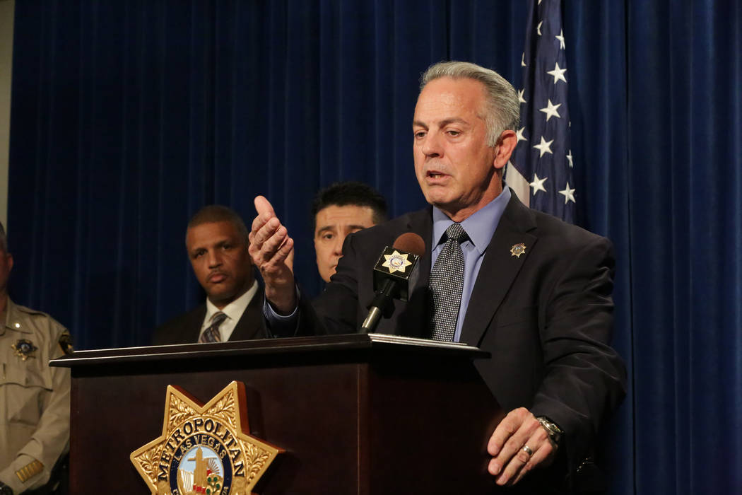During a press conference at Las Vegas Metropolitan Police Department Headquarters on Monday, March 25, 2018, Sheriff Joe Lombardo discusses details of a multiple murder investigation that has bee ...