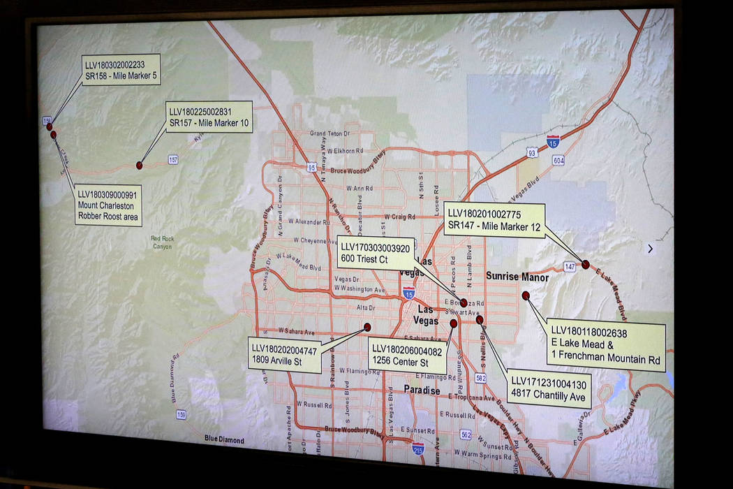 During a press conference at Las Vegas Metropolitan Police Department Headquarters on Monday, March 25, 2018, a map was displayed showing locations of multiple suspected gang related murders under ...