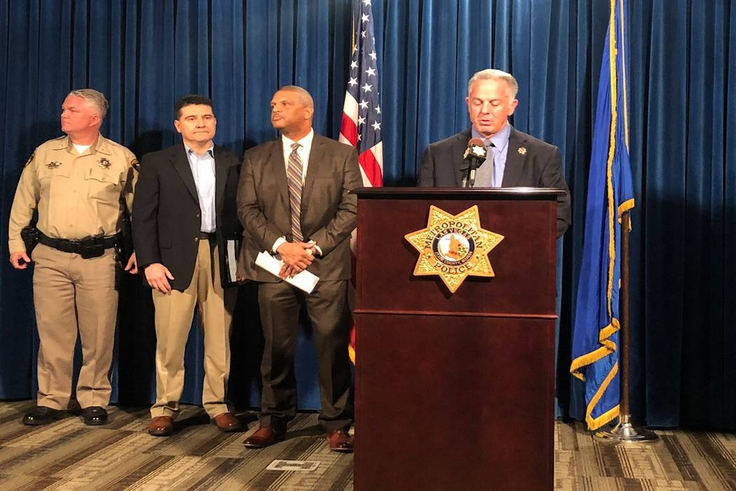 Sheriff Joseph Lombardo speaks during a press conference, Monday, March 26, 2018, to discuss a series of homicides taking place in Southern Nevada. (Rio Lacanlale/ Las Vegas Review-Journal)