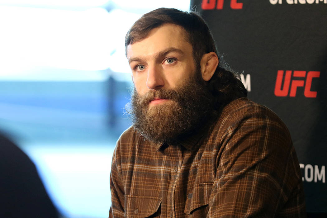 UFC lightweight Michael Chiesa answers questions from reporters at a media day ahead of UFC 223 at the UFC Performance Institute in Las Vegas, Monday, March 26, 2018. Heidi Fang Las Vegas Review-J ...