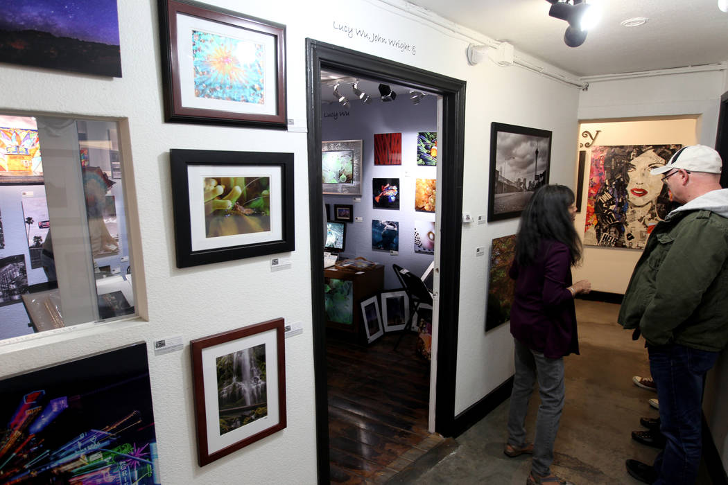 People browse galleries and studios inside the Arts Factory during First Friday in downtown Las Vegas' arts district Friday, March 2, 2018. K.M. Cannon Las Vegas Review-Journal @KMCannonPhoto