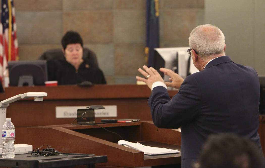 Judge Elizabeth Gonzalez, left, listens as Mark Ferrario, a lawyer for Elaine Wynn, addresses the court at the Regional Justice Center on Tuesday, March 27, 2018, in Las Vegas. (Bizuayehu Tesfaye/ ...