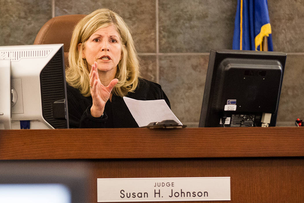 Judge Susan Johnson speaks before opening statements for the trial of Steven Ficano at the Regional Justice Center in Las Vegas on Wednesday, May 27, 2014. (Chase Stevens/Las Vegas Review-Journal) ...