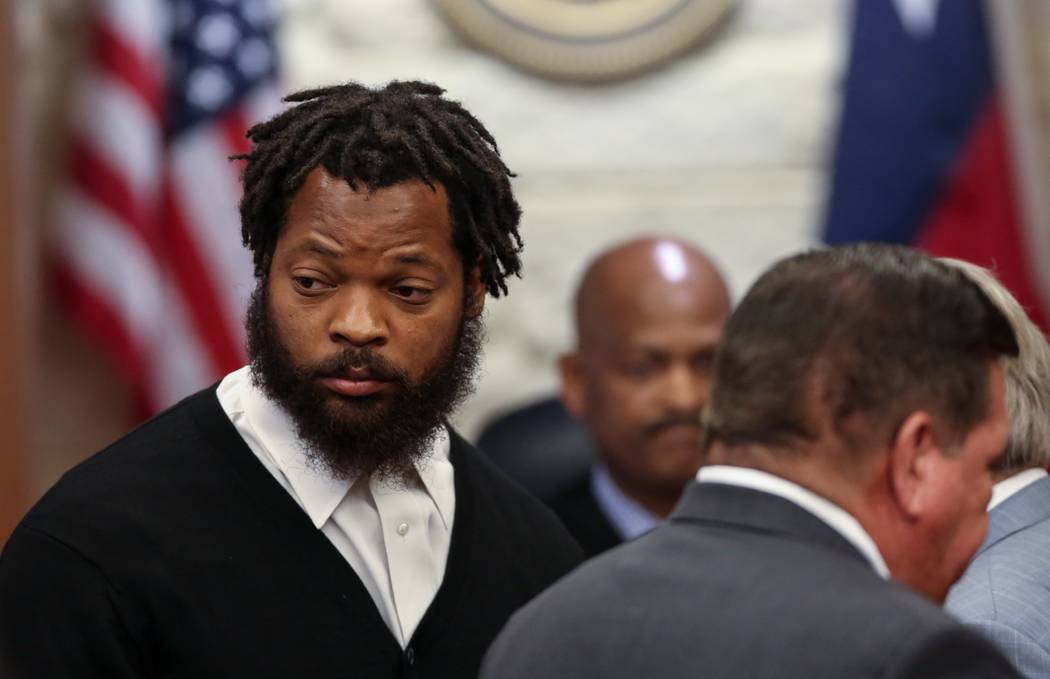 Philadelphia Eagles defensive end Michael Bennett appears in Harris County Civil Court in Houston on Monday, March 26, 2018. Bennett has surrendered to authorities in Houston on a charge that he i ...