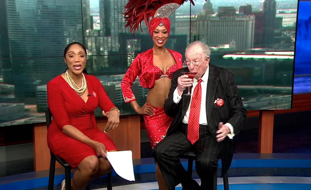 """Convention security drove former Mayor Oscar Goodman to this on-air interview with """"Wake Up With The CW"""" anchor Krystal Allan, left in May.  (The CW)"""