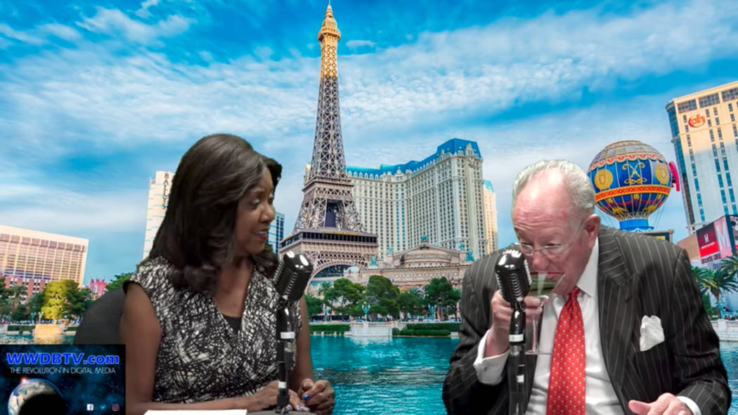 Oscar Goodman drinks his martini and complains about the coverage of the convention authority during an interview on Live! Las Vegas with Rikki Cheese.