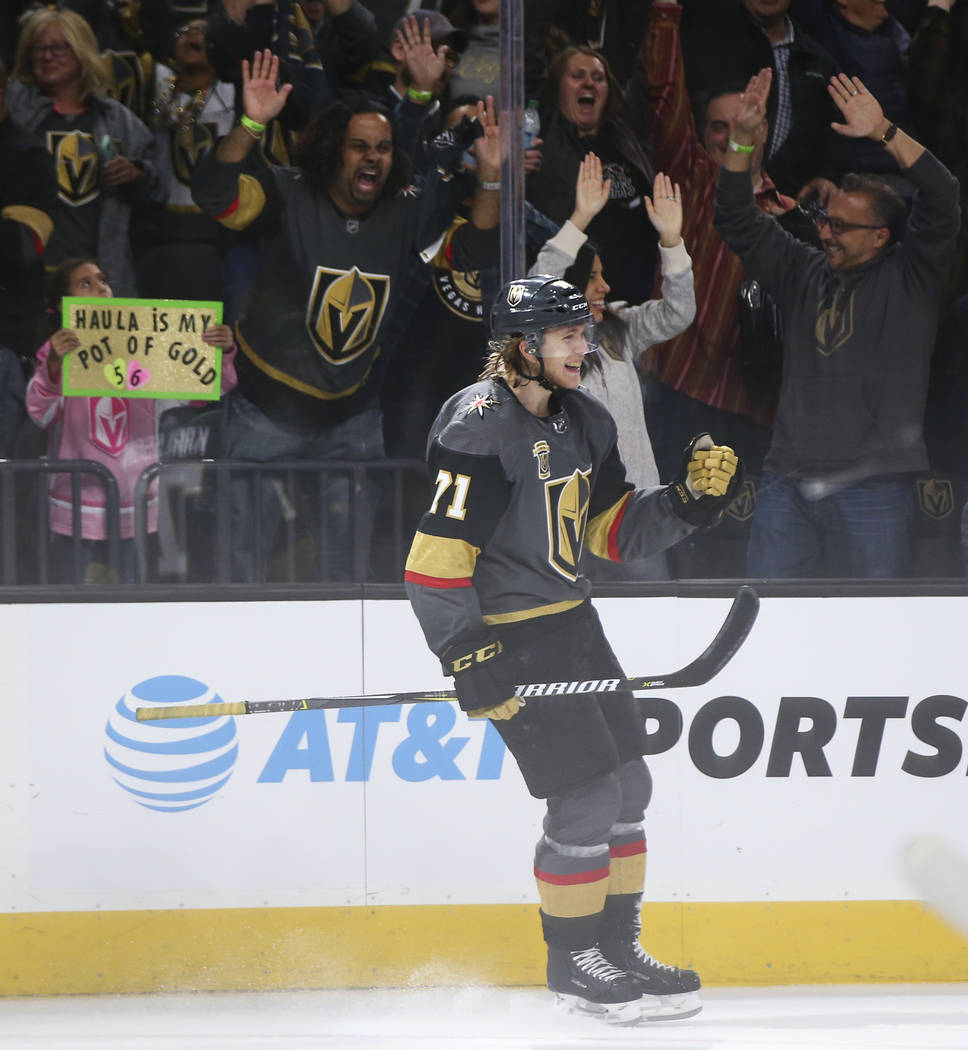Golden Knights center William Karlsson (71) celebrates his empty-net goal against the Colorado Avalanche in the final moments of the third period of an NHL hockey game at T-Mobile Arena in Las Veg ...