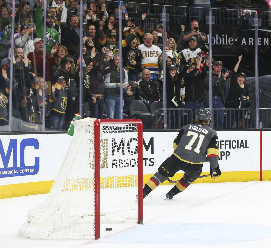 Golden Knights center William Karlsson (71) scores an empty-net goal against the Colorado Avalanche in the final moments of the third period of an NHL hockey game at T-Mobile Arena in Las Vegas on ...