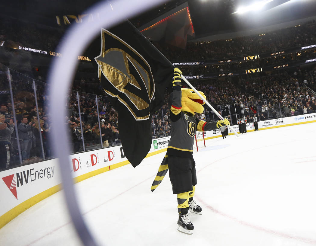 Golden Knights mascot Chance celebrates the team's 4-1 win over the Colorado Avalanche in an NHL hockey game at T-Mobile Arena in Las Vegas on Monday, March 26, 2018. Chase Stevens Las Vegas Revie ...
