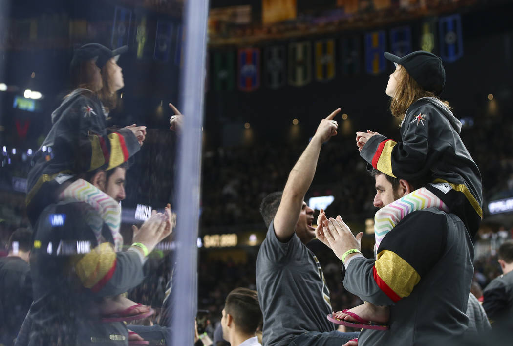 Golden Knights fans celebrate the team's 4-1 win over the Colorado Avalanche in an NHL hockey game at T-Mobile Arena in Las Vegas on Monday, March 26, 2018. Chase Stevens Las Vegas Review-Journal  ...