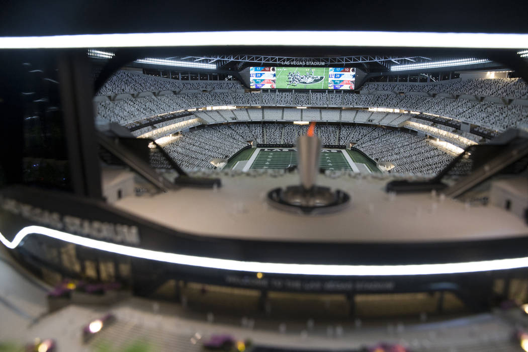A Raiders stadium model on display at the Las Vegas stadium preview center at Town Square, Friday, March 23, 2018. Erik Verduzco Las Vegas Review-Journal @Erik_Verduzco