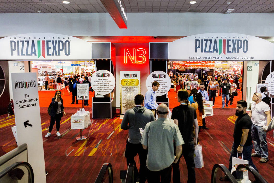International Pizza Expo is underway at the Las Vegas Convention Center in Las Vegas, Tuesday, March 28, 2017. (Elizabeth Brumley/Las Vegas Review-Journal) @EliPagePhoto