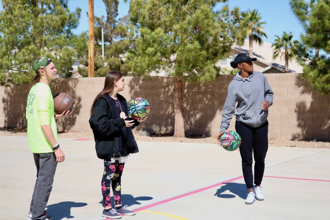 Sequoia Holmes, right, with 16-year-old Taylor Allison, left,  and 17-year-old Carly Lamb, center, at the Nevada Blind Children's Foundation in Henderson, Tuesday, March 27, 2018. Madelyn Reese/La ...