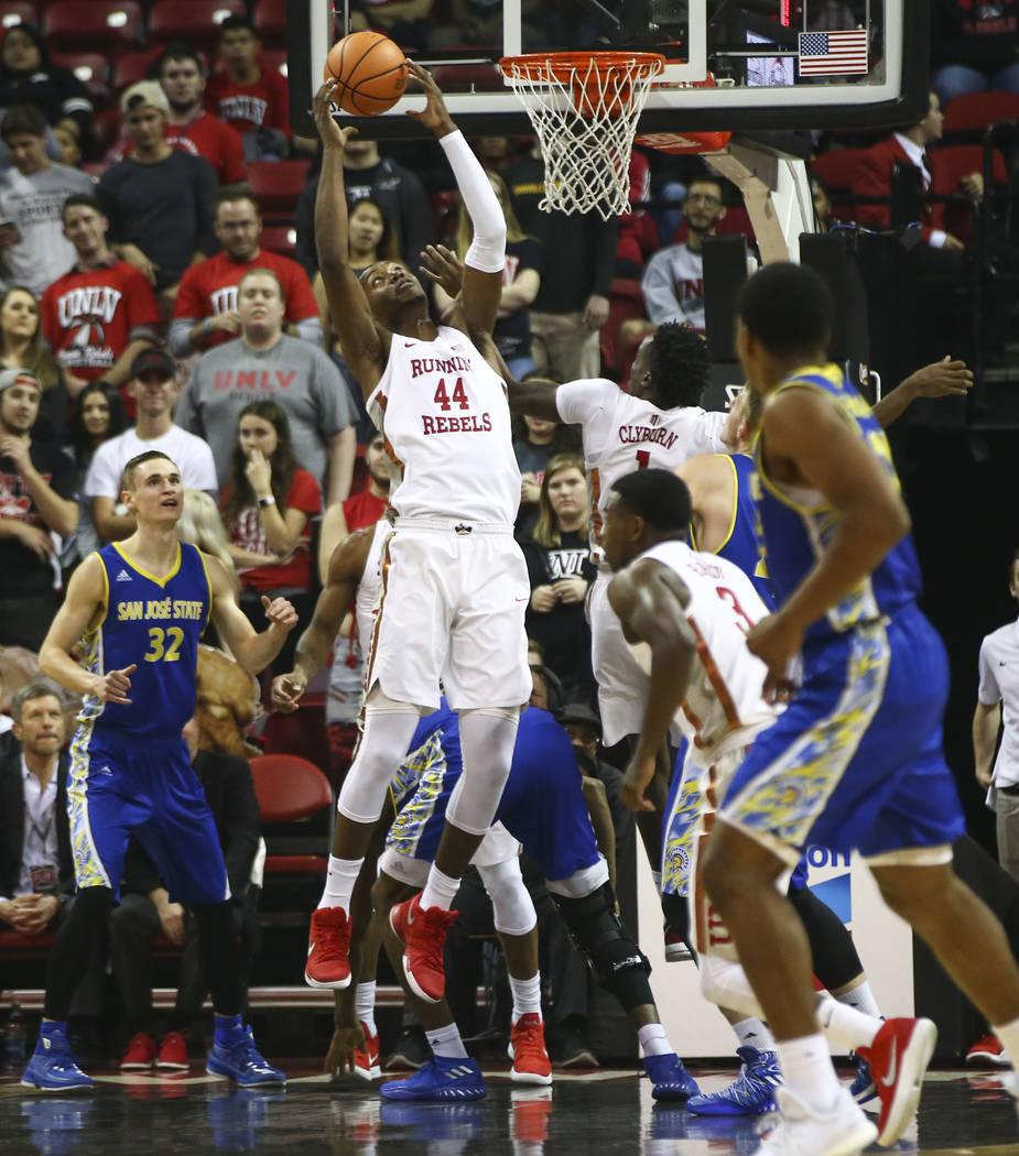 UNLV Rebels forward Brandon McCoy (44) gets a rebound over San Jose State during a basketball game at the Thomas & Mack Center in Las Vegas on Wednesday, Jan. 31, 2018. Chase Stevens Las Vegas ...