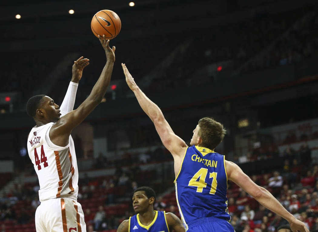 UNLV Rebels forward Brandon McCoy (44) shoots over San Jose State Spartans center Ashtin Chastain (41) during a basketball game at the Thomas & Mack Center in Las Vegas on Wednesday, Jan. 31,  ...