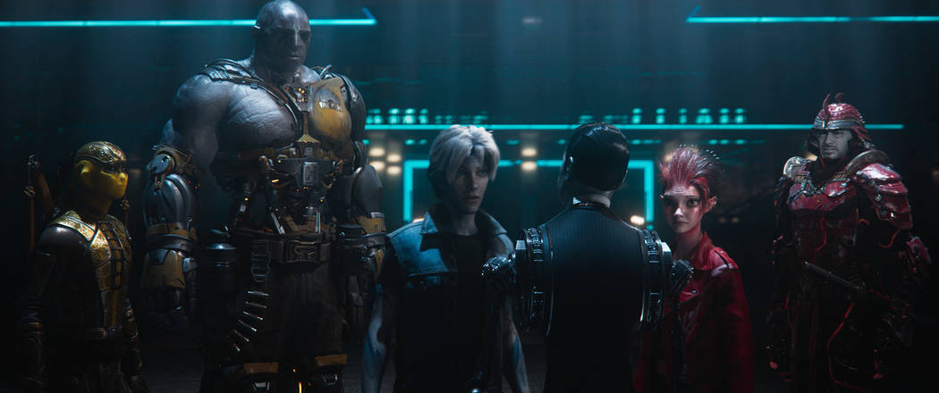"""Sho, Aech, Parzival, the Curator, Art3mis and Daito appear in a scene from """"Ready Player One."""" (Warner Bros. Pictures)"""