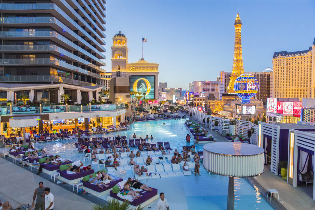 "Poolgoers enjoy a showing of ""Happy Gilmore"" during Dive In Movies at Boulevard Pool at the Cosmopolitan Las Vegas on Monday, June 5, 2017. (Benjamin Hager Las Vegas Review-Journal) @ben ..."
