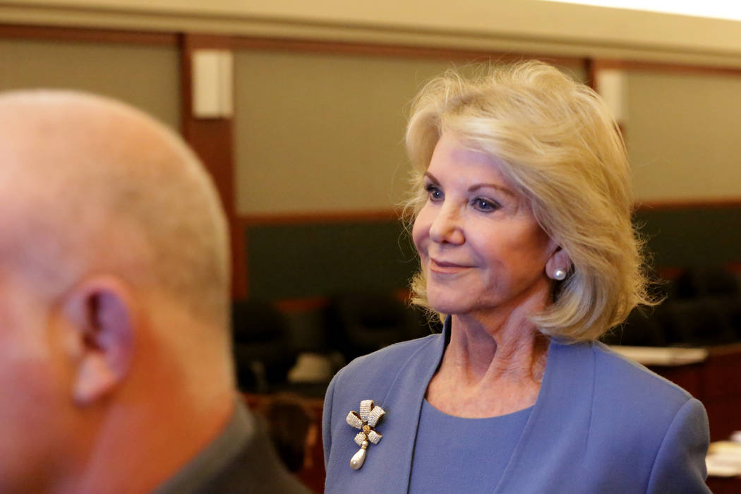 Elaine Wynn exits the courtroom at the Regional Justice Center after testifying in a suit against Wynn Resorts on Wednesday, March 28, 2018. Michael Quine/Las Vegas Review-Journal @Vegas88s