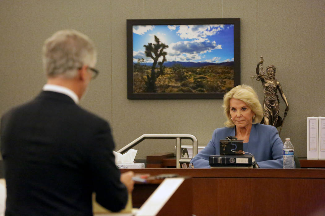 Attorney James J. Pisanelli, left, representing Wynn Resorts, questions Elaine Wynn, in Clark County District Court at the Regional Justice Center in Las Vegas on Wednesday, March 28, 2018. Michae ...