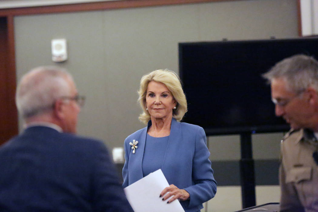 Elaine Wynn exits the stand after testifying in a suit against Wynn Resorts on Wednesday, March 28, 2018. Michael Quine/Las Vegas Review-Journal @Vegas88s