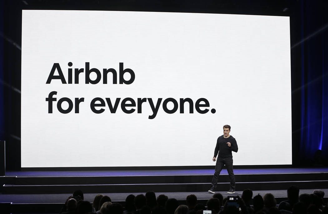 Airbnb co-founder and CEO Brian Chesky speaks during an event Thursday, Feb. 22, 2018, in San Francisco. Airbnb is dispatching inspectors to rate a new category of properties listed on its home-re ...