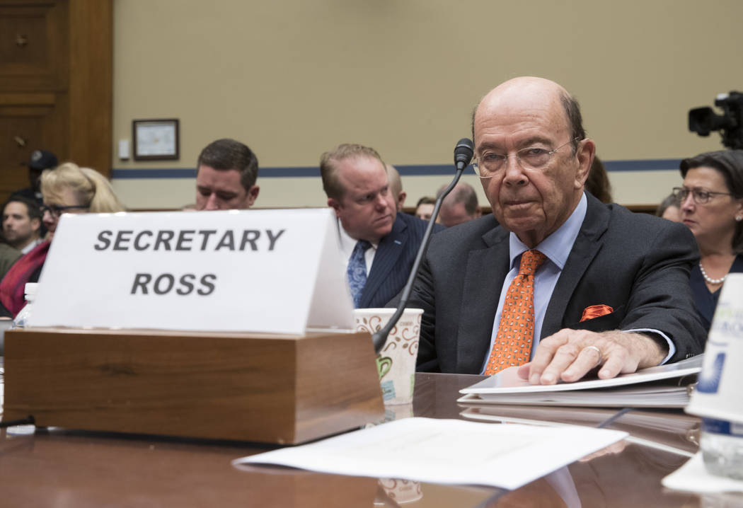 Commerce Secretary Wilbur Ross appears before the House Committee on Oversight and Government Reform to discuss preparing for the 2020 Census, on Capitol Hill in Washington. (AP Photo/J. Scott App ...