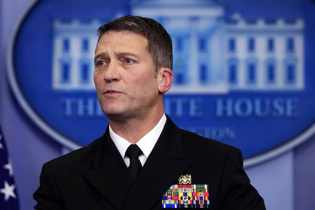 White House physician Dr. Ronny Jackson speaks to reporters during the daily press briefing in the Brady press briefing room at the White House in Washington. On Wednesday, March 28, 2018, Preside ...