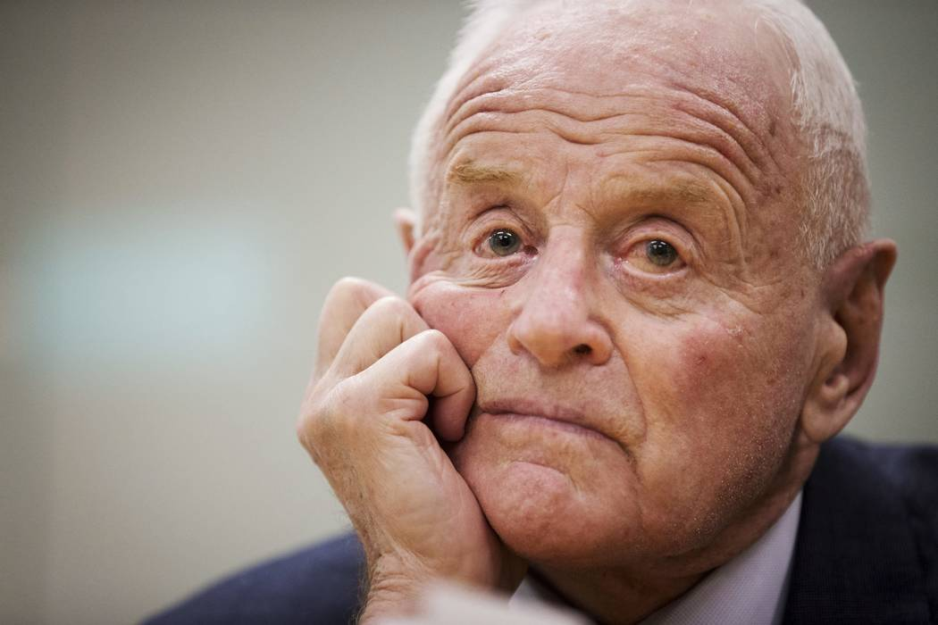 In this Dec. 4, 2013 file photo, Barrick Gold chairman Peter Munk looks on at a news conference to announce his retirement in Toronto.  Munk died on Wednesday, March 28, 2018. He was 90. His daugh ...
