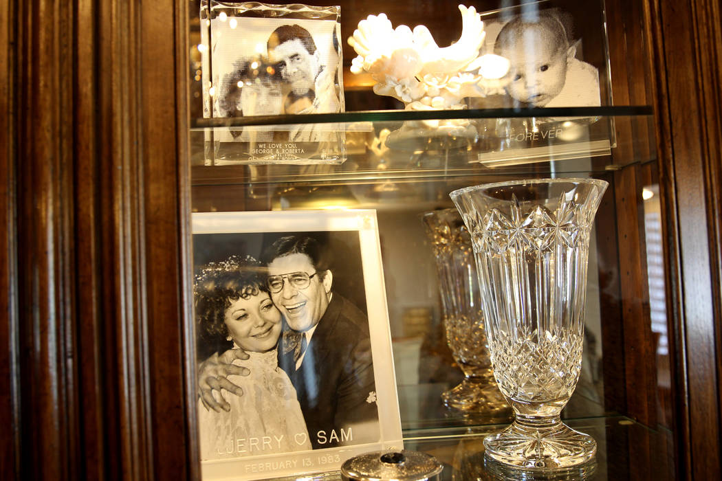 Photos in a living room at Jerry Lewis' family home Thursday, March 29, 2018. The two-story home at 1701 Waldman Ave. in the Scotch 80s neighborhood in downtown Las Vegas is for sale for $1.4 mill ...