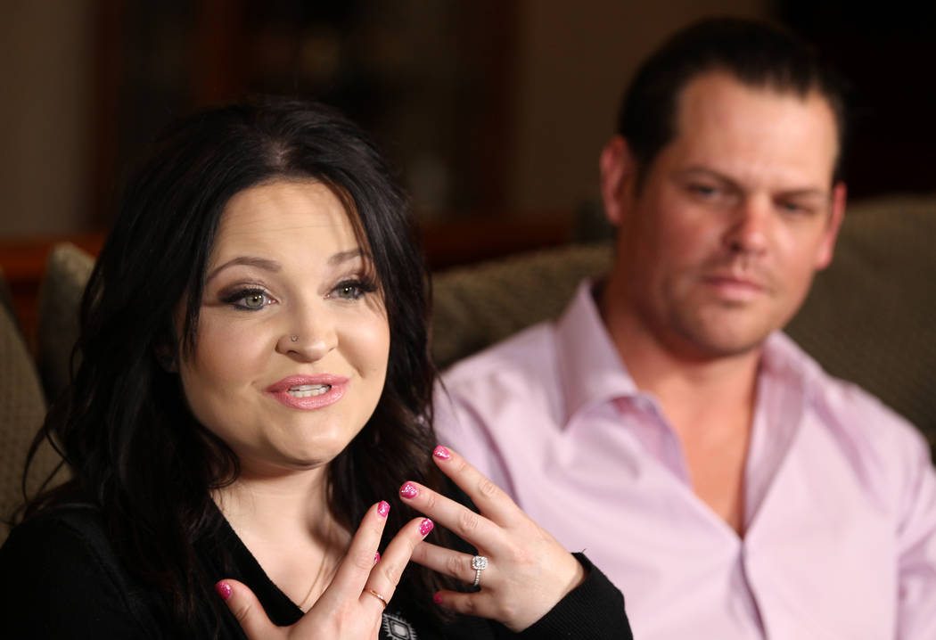 Jerry Lewis' daughter Danielle Lewis and Sean McClenahan, who is like a son to Jerry Lewis, talk to Las Vegas Review-Journal columnist John Katsilometes at the family's home Thursday, March 29, 20 ...