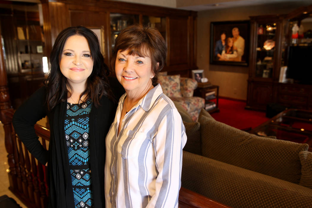 Jerry Lewis' daughter Danielle Lewis, left, and widow SanDee 'Sam' Lewis at the family's home, Thursday, March 29, 2018. The two-story home at 1701 Waldman Ave. in the Scotch 80s neighborhood in d ...
