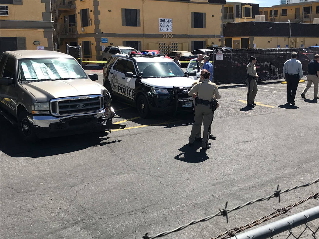 Las Vegas police investigate an officer-involved shooting Thursday, March 29, 2018, at Siegel Suites, 2000 Paradise Road, in Las Vegas. (Blake Apgar/Las Vegas Review-Journal)
