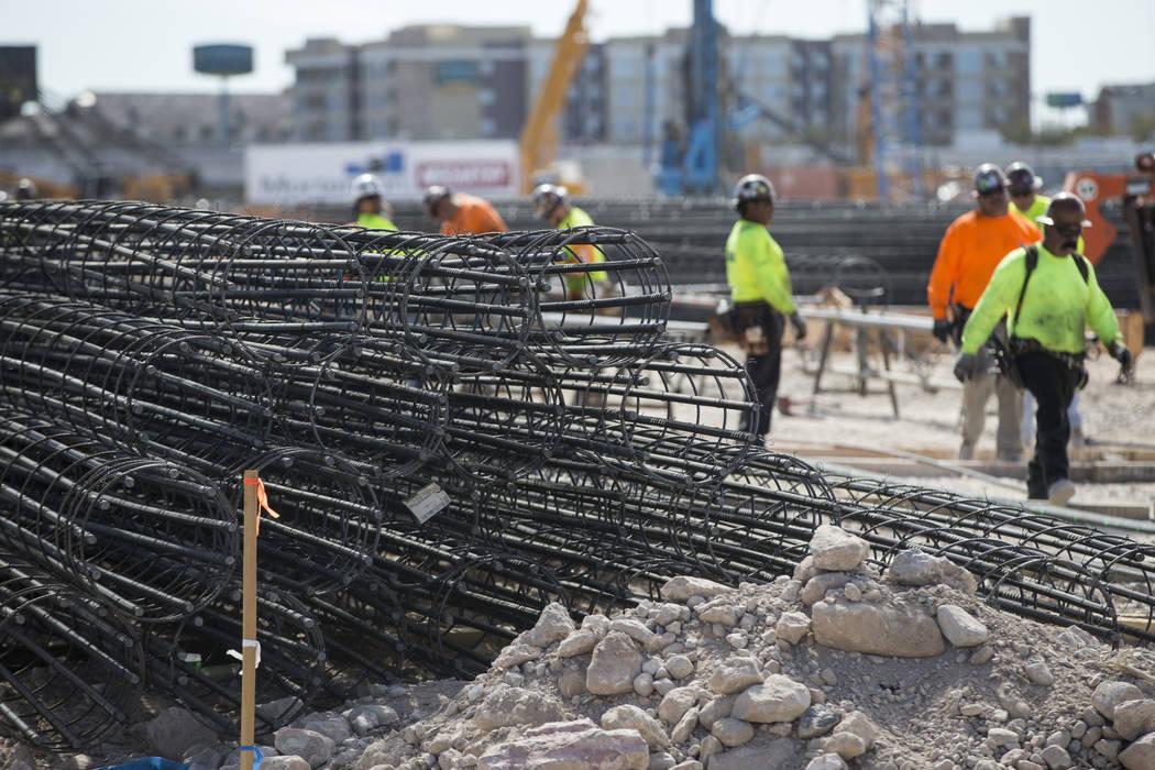 Steel rods at the future Raiders stadium site in Las Vegas, Tuesday, March 6, 2018. Erik Verduzco Las Vegas Review-Journal @Erik_Verduzco