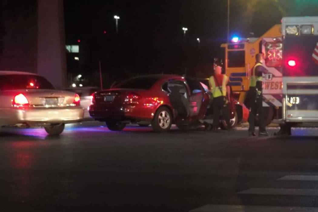 Four people were hospitalized Friday morning after a head-on crash at the intersection of Flamingo Road and Swenson Street. (Max Michor/Las Vegas Review-Journal)