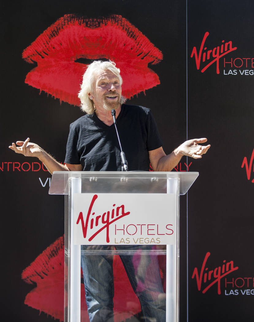 Virgin Group Founder Sir Richard Branson speaks at a press conference at the Hard Rock Hotel in Las Vegas on Friday, March 30, 2018.  Patrick Connolly Las Vegas Review-Journal @PConnPie