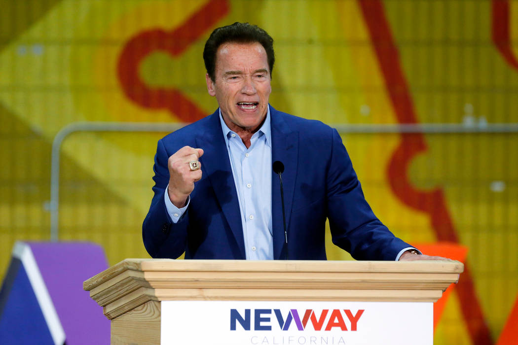 Former California Gov. Arnold Schwarzenegger speaks at the first New Way California Summit in Los Angeles