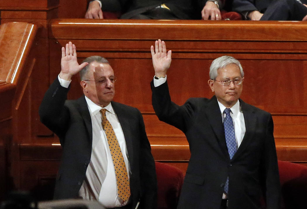 Ulisses Soares, left, of Brazil and Gerrit W. Gong, who is Chinese-American, join a panel called the Quorum of the Twelve Apostles at the start of a twice-annual conference of The Church of Jesus  ...
