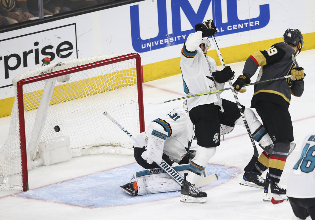 Golden Knights defenseman Shea Theodore, not pictured, scores against San Jose Sharks goaltender Martin Jones (31) during the first period of an NHL hockey game at T-Mobile Arena in Las Vegas on S ...