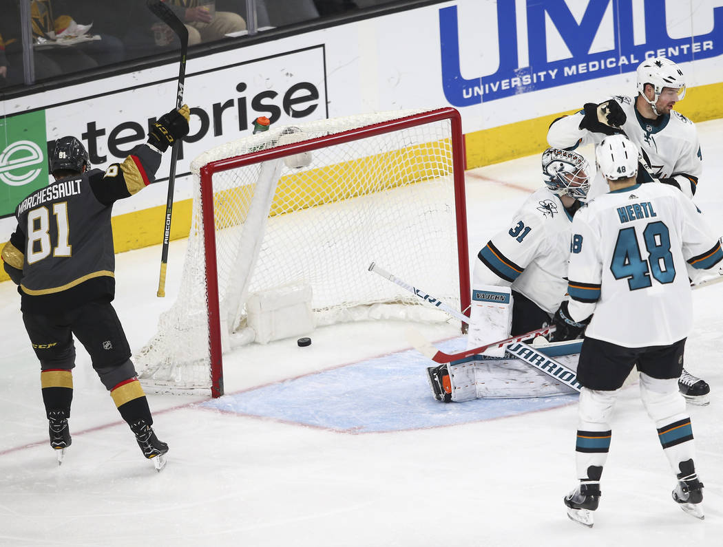 Golden Knights center Jonathan Marchessault (81) celebrates a goal by Golden Knights defenseman Shea Theodore, not pictured, during the first period of an NHL hockey game against the San Jose Shar ...