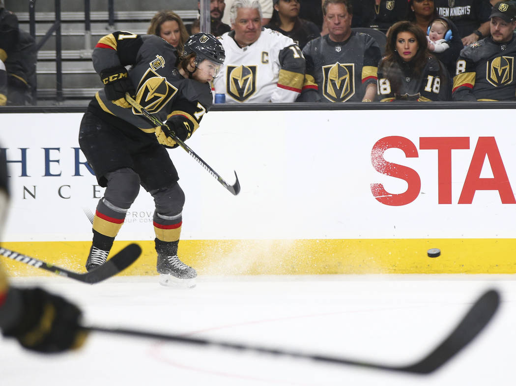 Golden Knights center William Karlsson (71) attempts a shot against the San Jose Sharks during the second period of an NHL hockey game at T-Mobile Arena in Las Vegas on Saturday, March 31, 2018. C ...