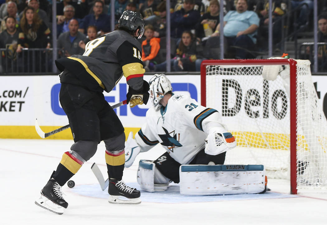 Golden Knights left wing James Neal (18) tries to score against San Jose Sharks goaltender Martin Jones (31) during the second period of an NHL hockey game at T-Mobile Arena in Las Vegas on Saturd ...