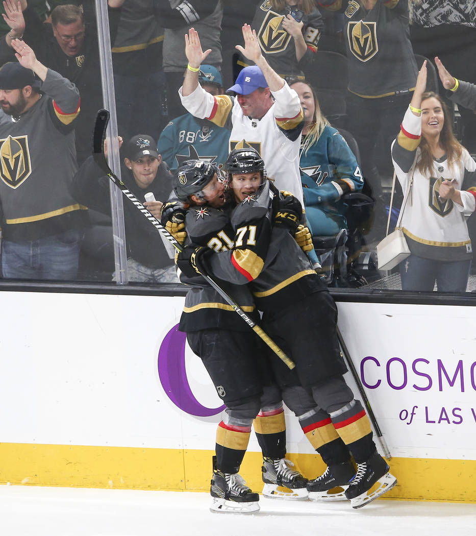 Golden Knights center William Karlsson (71) celebrates his goal against the San Jose Sharks with Golden Knights center Cody Eakin (21) looks on during the third period of an NHL hockey game at T-M ...