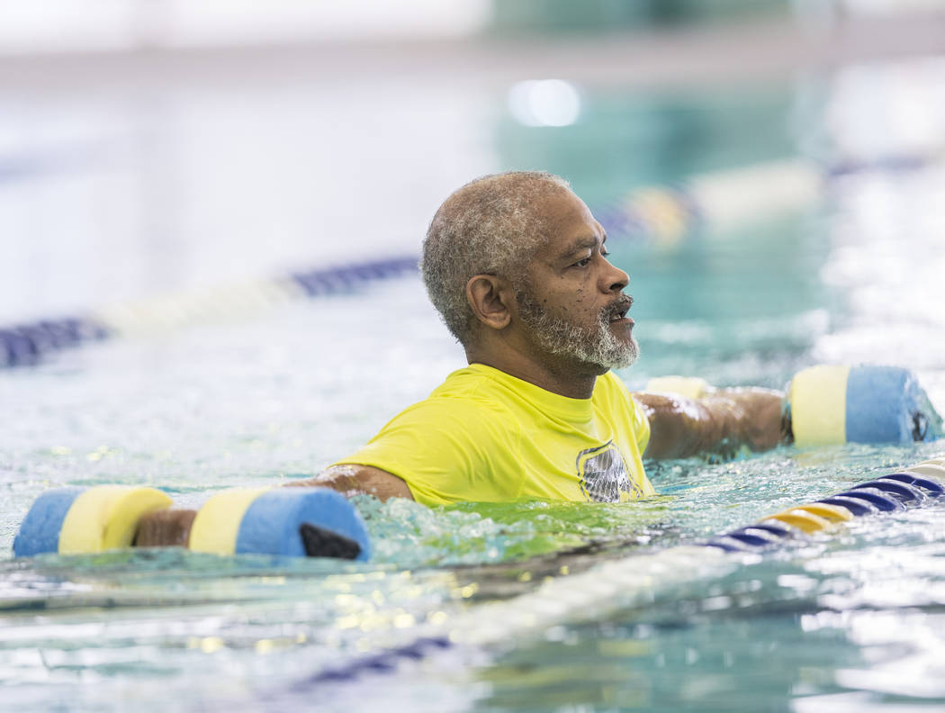 Retired Air Force sergeant Clarence Wright works out at the City of Las Vegas Municipal Pool on Tuesday, January 16, 2018, in Las Vegas. Benjamin Hager Las Vegas Review-Journal @benjaminhphoto