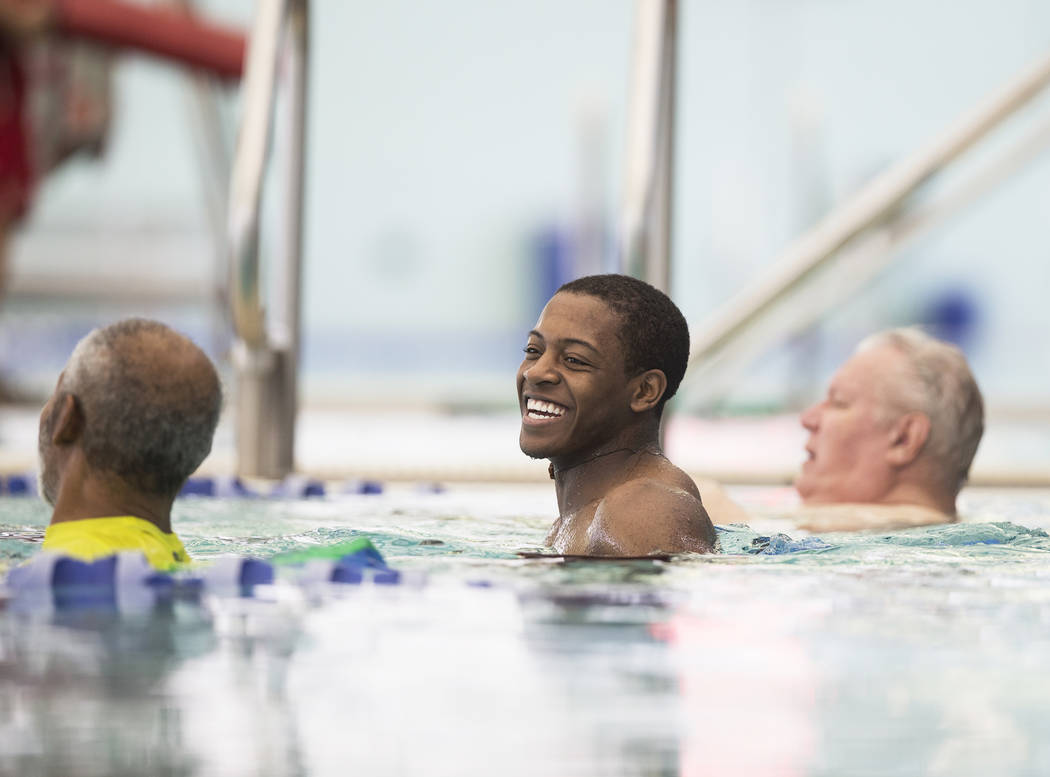 Aquatic instructor Nick Adams, middle, shares a laugh with his class at the City of Las Vegas Municipal Pool on Tuesday, January 16, 2018, in Las Vegas. Benjamin Hager Las Vegas Review-Journal @be ...