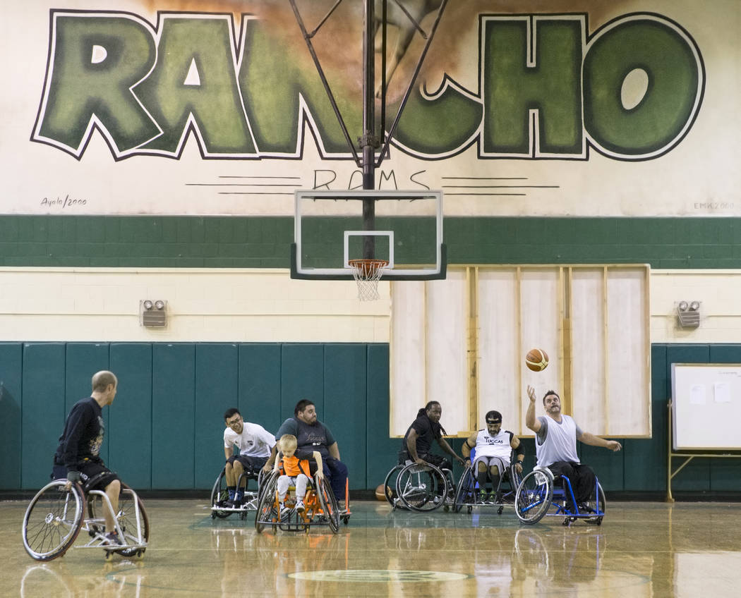 Las Vegas Yuccas of the National Wheelchair Basketball Association practice on Tuesday, January 16, 2018, at Rancho High School, in Las Vegas. Benjamin Hager Las Vegas Review-Journal @benjaminhphoto