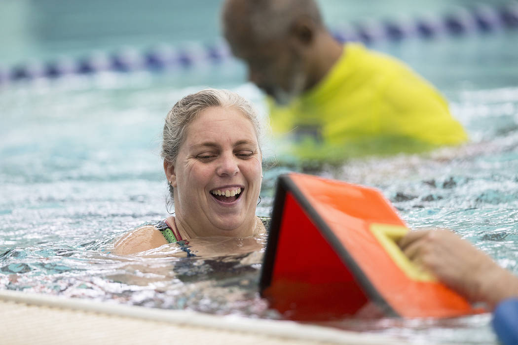 Aquatic instructor Margaret Acevedo gives instruction to her students at the City of Las Vegas Municipal Pool on Tuesday, January 16, 2018, in Las Vegas. Benjamin Hager Las Vegas Review-Journal @b ...
